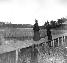 Florida Memory - Women on footbridge - Bay County, Florida