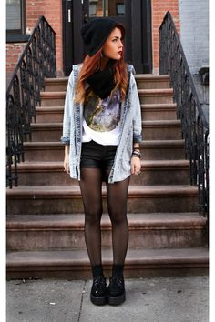 modern day grunge. the hat, the denim cover up, the tights, and the thick soled shoes. not to mention her hair is beautiful. can I be her?