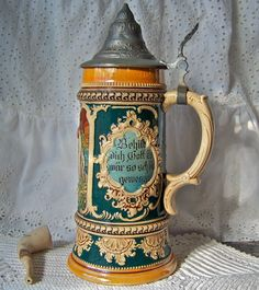 Vintage Beer Stein Pewter Lid Germany by cynthiasattic on Etsy, $148.00