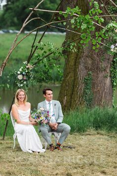 Gorgeous Sophie & Dan under the arbour at their lakeside Wedding Blessing, Hambledon House Surrey - Joanna Nicole Photography