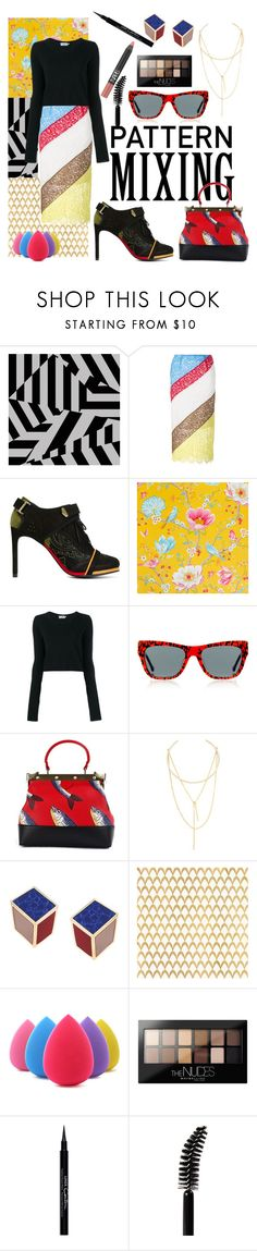 """Head-to-Toe Pattern Mixing"" by love-blair-serena ❤ liked on Polyvore featuring Preen, PiP Studio, Tammy & Benjamin, Jules Smith, Eshvi, Barclay Butera, Maybelline, Givenchy, LORAC and NARS Cosmetics"