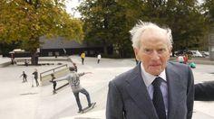 Mærsk Mc-Kinney Møller at the inauguration of a skatepark in Copenhagen, donated by himself.