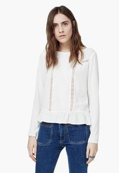 6818fde951 Bluza alb murdar cu segment brodat Lost - MANGO Mango Presents, B Fashion,  Embroidered