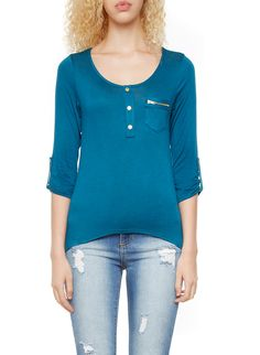 Rainbow Zipper Chest Pocket 3/4 Sleeve Top With Button Accents