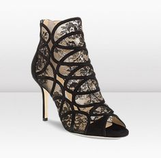 2013/PRE FALL ■ Jimmy Choo ■FONDA Black Suede and Lace Booties