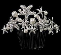 JESSICA MCCLINTOCK - Romantic starfish pearl wedding comb - SALE