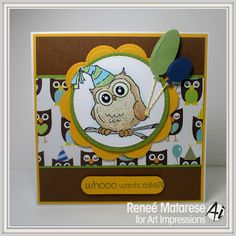 Art Impressions Rubber Stamps: Ai Whoots: Birthday Whoot Set (Sku#4125) ... handmade birthday card.  child, boy girl etc.