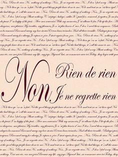Edith Piaf - Non, je ne regrette rien print