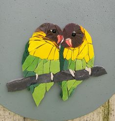 This is what I just added in my store : ROMEO and JULIETTE, mosaic wall art, round wall art, b Paper Mosaic, Mosaic Wall Art, Mosaic Crafts, Mosaic Projects, Tile Art, Mosaic Glass, Mosaic Mirrors, Mosaic Animals, Mosaic Birds