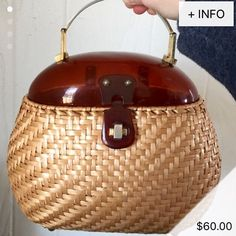 Fell out of my chair when I saw this wicker / lucite purse posted for sale on Whurl from user hswope Women's vintage fashion accessories space age mod handbag purse