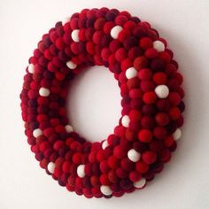 Christmas wreath. Felt ball Wreath. Christmas Decoration. Modern Wreath. Holiday Wreath. Red Wreath