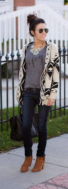 Black and White Cardi with Wifey V-Neck Tee and Go...