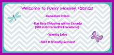Funky Monkey Fabrics located in Ontario! Canadian Quilts, Fabric Canada, List Of Fabrics, Weaving For Kids, Quilt Shops, Sewing Projects, Diy Projects, Barn Quilts, Fabric Shop
