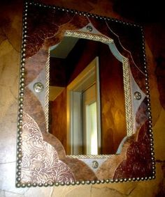Tooled Leather & Cowhide Fancy Western Decor Wall Mirror - Western Decor by Signature Cowboy Studio Western Crafts, Rustic Western Decor, Country Decor, Western Décor, Cowboy Crafts, Gym Decor, Wall Decor, Leather Tooling, Tooled Leather