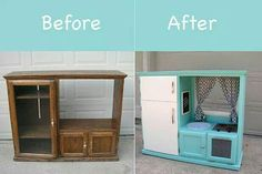 Entertainment Center upcycle into kids play kitchen
