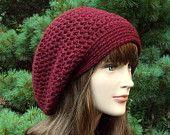 Oxblood Wine Slouch Beanie - Womens Slouchy Crochet Hat - Oversized Slouchy Beanie - Chunky Hat - Baggy Beanie - Winter Slouchy Hat