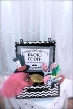 Photo booth props at an Alice in wonderland birthday party!  See more party planning ideas at CatchMyParty.com!