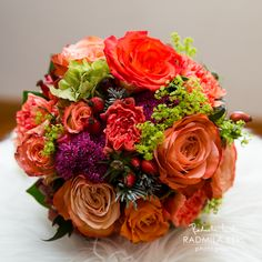 summer or fall wedding flower, orange and red bridal bouquet arrangement by…