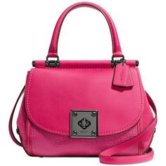 COACH Drifter Top Handle Satchel in Mixed Leather ($260) ❤ liked on Polyvore featuring bags, handbags, pink purse, leather man bags, man bag, leather hand bags and pink leather purse