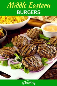 Middle Eastern Burgers - these slider-sized burgers, which we call ima burgers, are enhanced with traditional Middle Eastern spices and fresh herbs for a kebab-like flavor. Easy, lean and flavorful, and delicious grilled meal for the spring and summer! Easy Healthy Recipes, Veggie Recipes, Lunch Recipes, Dinner Recipes, Weeknight Recipes, Veggie Food, Sandwich Recipes, Drink Recipes, Pork Burgers