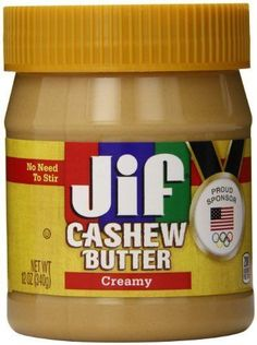 http://www.worldgrocerystoreandmore.ecrater.com/p/25305615/ Jif Creamy Cashew Butter 12 oz.  Creamy and delicious no-stir nut butters made from roasted cashews! •No need to stir •Made with roasted cashews •Contains no preservatives •No refrigeration needed •200 calories per 2 tablespoons •Kosher.
