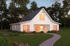 Farmhouse plans generally bring to mind an old-fashioned sense of home, with plenty of room for a growing family. The typical modern farmhouse house plan presents a porch for outdoor living, and a second story with dormers for additional light. The Plan, How To Plan, Barn House Plans, Modern House Plans, Barn Plans, Small House Plans, Farmhouse Design, Country Farmhouse, Farmhouse Front