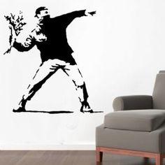 Banksy Flower Thrower Wall Art Stencil @ Ideal Stencils