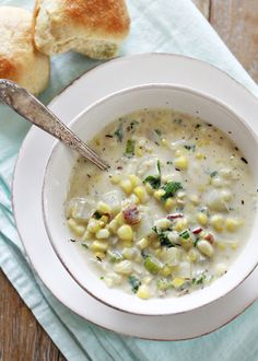 Potato corn chowder with kale and bacon.