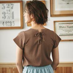 【Back spindle rib knit tops】レディース スピンドル リブ ニット