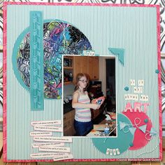 Featuring A Treasure with Connie: Hi, Connie here to share with you a scrapbook page using the Winter Bliss Collection. This page is pretty special to me. My granddaughter loves to create art. She took a paper plate and added acrylic paint to it and worked her magic.