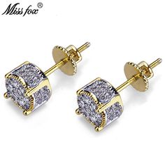 MISSFOX Hip-Hop Gold Plated Cz Men's Earrings Studs Fashionable Round Cubic Zirconia Jewellery Piercing Male Earring Gifts Outfit Accessories From Touchy Style Stud Earrings For Men, Screw Back Earrings, Simple Earrings, Simple Jewelry, Silver Earrings, Men's Earrings, Earring Studs, Drop Earring, Leather Earrings