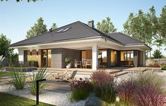 Bungalow House design with attic Miriam V, area with a spacious garage, with an envelope ro Bungalow House Plans, Dream House Plans, Modern Bungalow Exterior, Village House Design, Beautiful House Plans, Model House Plan, Facade House, Home Fashion, Modern House Design
