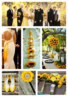 This sunflower theme would mesh beautifully with a country wedding. Add some brown cowboy boots for the bridesmaids, and a pair with yellow embroidery for the bride and ta-da! Classy country!