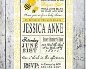 Bee Baby Shower Invitation Printable - Gender Neutral Yellow