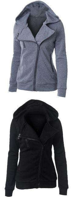 the hoodie is featuring long sleeve, slant zipper pocket, zip-up front closure, slim fit and solid color. Fashion 2018, Trendy Fashion, Womens Fashion, Fashion Ideas, Fashion Inspiration, Winter Fashion, Casual Fall Outfits, Winter Outfits, Pretty Outfits