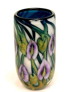 Daniel Lotton - Purple Antherium on White Vase with Aqua Interior