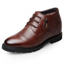 Winter Taller Dress Shoes Add Height 6.5cm / 2.6inch High Top Brown Business Shoes