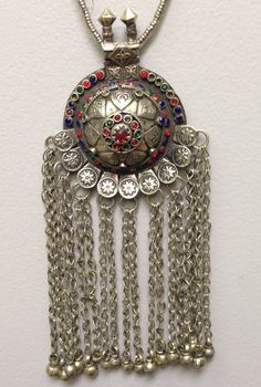 Pendant Afghanistan Kuchi, Silver, Handmade Handcrafted Red Blue Glass Silver Tribal Gift for Her Necklace - WorldofBacara