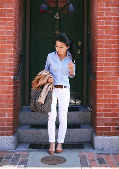 Casual outfit for running errands - white jeans, blue striped shirt, neutral flat shoes