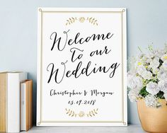 "Say ""I do"" knowing that everything is taken care of, including the smallest details like wedding signage and decor. Put your personal style on display, with this Personalized Wedding Poster. The prett"