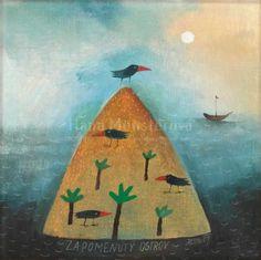 Landscape Art Print of Oil Painting (landscape painting, sea art, sea painting, ocean art, ocean painting, naive art, gift) - Desert Island