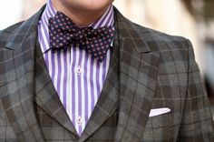 fashion forward: 3 prints -- plaid suit, striped shirt, dot tie {image with a solid navy suit + it's cool or preppy instead}