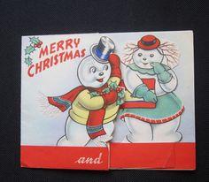 Vintage Snowman Pop-up Christmas Card Unused