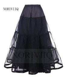 NORIVIIQ-Long-Petticoat-Black-Rockabilly-Crinoline-Underskirt-Skirt-Slips-USA