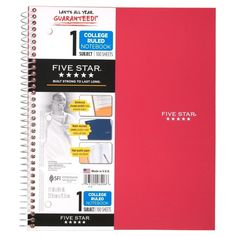 LASTS ALL YEAR.* Choose a notebook that keeps up with your busy school day. The Five Star 1 Subject College Ruled Notebook is the smart choice for all your notetaking and homework needs. College Notebook, College Planner, Teacher Planner, Easy Essay, Page Dividers, Argumentative Essay, Essay Examples, Five Star, Research Paper
