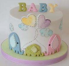 Baby Shower Cake Baby Cake Decorations For A Baby Shower Torta Baby Shower, Tortas Baby Shower Niña, Baby Shower Pasta, Baby Shower Cakes Neutral, Elephant Baby Shower Cake, Elephant Cakes, Shower Baby, Simple Baby Shower Cakes, Baby Shower Cake For Girls