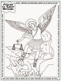 Free Saint Michael Catholic Coloring Page.  Includes the prayer to St. Michael. Feast day is September 29