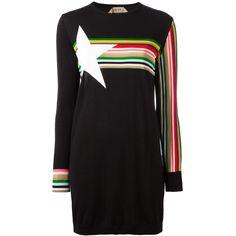 Nº21 striped sweatshirt dress ($461) ❤ liked on Polyvore featuring dresses, black, sweatshirt dress, stripe dresses and striped dress