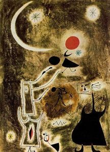 Woman and Bird in Front of the Sun 1942 Painting By Joan Miro Spanish Painters, Spanish Artists, Illustrations, Illustration Art, Joan Miro Paintings, Kandinsky, Oil Painting Reproductions, Oeuvre D'art, Les Oeuvres