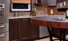 Sapele Mahogany Butcherblock Countertop Table. Designed by Cheryl Kees Clendenon of In Detail Kitchens Baths Interiors.